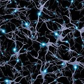 picture of nerve cell  - Seamlessly Repeatable Brain Cells Pattern - JPG