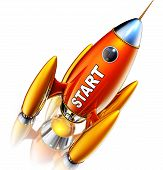 stock photo of reboot  - high resolution rendering of a rocket with a start icon - JPG