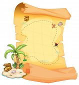Illustration of a big treasure map and an island on a white background