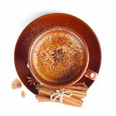 Coffee with cinnamon on a white background