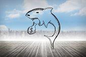 pic of loan-shark  - Loan shark doodle against cityscape on the horizon - JPG