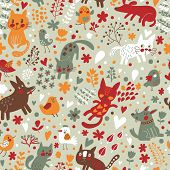 Bright childish seamless pattern with birds, cats and funny dogs in vector. Seamless pattern can be