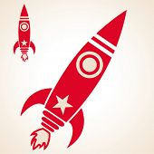 simple cartoon retro illustration of a rocket ship flying