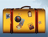 Постер, плакат: Винтаж Жёлтый чемодан