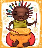 image of reggae  - Colorful portrait of the African drummer with dreadlocks - JPG