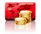 Illustration Credit card and Coins on white background. Vector.