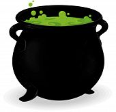 stock photo of cauldron  - cauldron illustration to use in halloween decorations - JPG