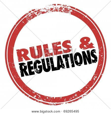 Постер, плакат: Rules and Regulations words in a red stamp illustrating laws guidelines and standards you must foll, холст на подрамнике
