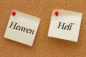 picture of hell  - Heaven versus Hell Two yellow sticky notes on a cork board with the words Heaven and Hell - JPG