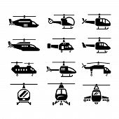 stock photo of rescue helicopter  - Set icons of helicopters isolated on white - JPG