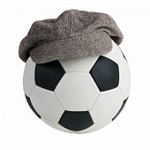 stock photo of ball cap  - Soccer ball with a cap of drape - JPG