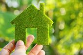 foto of economizer  - Image of hand holding green house icon - JPG