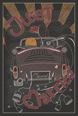 picture of beetle car  - Just married wedding invitation card design in vintage style with chalkboard eps10 vector format - JPG