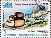 Постер, плакат: Почтовая марка показывает пример Чили культуру