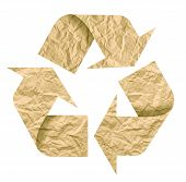 pic of reuse recycle  - Recycle symbol made of crumpled paper - JPG