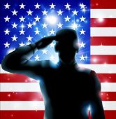 foto of salute  - Patriotic soldier or veteran saluting in front of an American flag Fourth July Verterans Day or Independence Day illustration - JPG