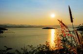 foto of chan  - High angle view beautiful lake at sunset on the Kaeng Kra Chan Dam view point in National Park Phetchaburi Province Thailand - JPG