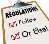 picture of follow-up  - Regulations Follow or Else words on a checklist and clipboard evaluating if you - JPG