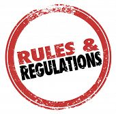 Постер, плакат: Rules and Regulations words in a red stamp illustrating laws guidelines and standards you must foll