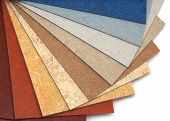 stock photo of linoleum  - The samples of linoleum located a large fan - JPG