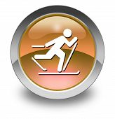 image of nordic skiing  - Icon Button Pictogram with Cross - JPG