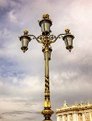 stock photo of 1700s  - Ornate Lamp Post Royal Palace Palacio Real Cityscape Madrid Spain - JPG
