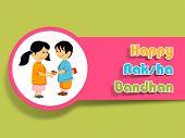 image of rakhi  - Hindu community festival Happy Raksha Bandhan celebrations with cute little sister tying rakhi on his brother wrist on green background - JPG