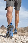 picture of hamstring  - Closeup of male runner wearing rugged trail running shoes as he runs away from camera over rocky desert landscape - JPG