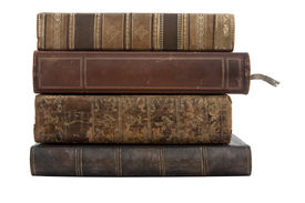 picture of vintage antique book  - A stack of old antique books isolated on a white background - JPG