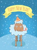 stock photo of sarcasm  - Vector cartoon illustration of a lamb on a snowy background in a party hat and with a whistle - JPG