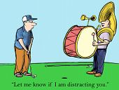stock photo of concentration  - Golfer needs silence to concentrate and hit a winning shot - JPG