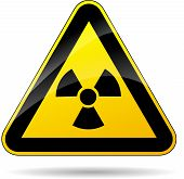 stock photo of radioactive  - illustration of yellow triangle sign for radioactivity - JPG