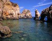 picture of inlet  - Inlet in rocky coastline Ponta da Piedade Algarve Portugal Western Europe - JPG
