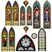 stock photo of church interior  - stained glass church window in thailand  - JPG