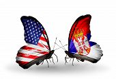 pic of serbia  - Two butterflies with flags on wings as symbol of relations USA and Serbia - JPG
