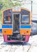 image of railcar  - A diesel Locomotive engine train head on a railway track - JPG