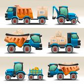 picture of truck-cabin  - Set of trucks and tractors for transportation - JPG
