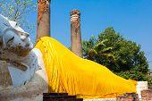 foto of gautama buddha  - Reclining Buddha in Ayutthaya historical park Thailand - JPG