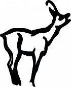 stock photo of roebuck  - Vector illustration of  black silhouette stag on white background - JPG
