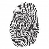 stock photo of dash  - Black Dashed Line High Detailed Finger Print - JPG