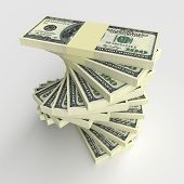 stock photo of 100 dollars dollar bill american paper money cash stack  - Money concept  - JPG