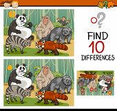 picture of brain teaser  - Cartoon Illustration of Finding Differences Educational Game for Preschool Children with Wild Mammals - JPG