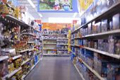 stock photo of department store  - toy section at department store with blurred effect - JPG