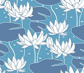 picture of water lilies  - Vintage water lily seamless pattern - JPG
