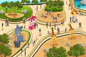 picture of zoo  - A vector illustration of scene in a zoo - JPG