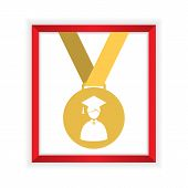 stock photo of first class  - First Class Honors Gold Medal Graduation Vector Illustration - JPG