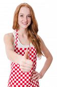 image of pinafore  - Young cook female thumbs up isolated on white - JPG