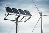 image of windmills  - Windmill and photovoltaic panel for energy production - JPG