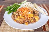 pic of noodles  - Pad thai or phat thai is a stir fried rice noodle dish - JPG
