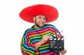 stock photo of clapper board  - Funny mexican with clapper - JPG